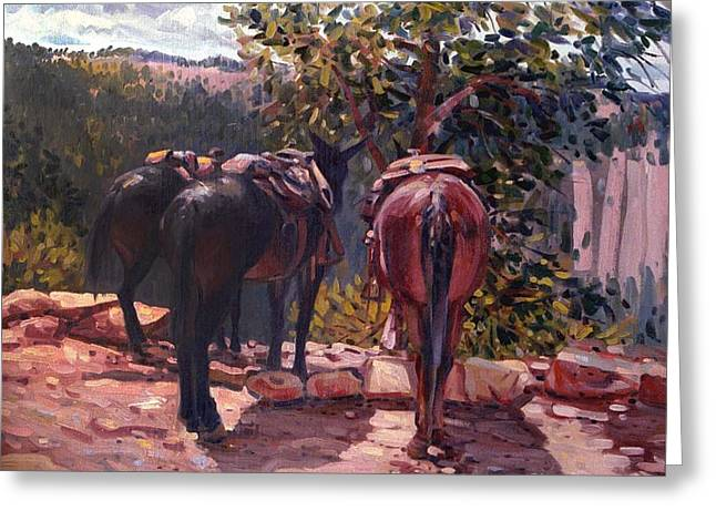 Mules Greeting Cards - Resting on the Kaibab Trail Greeting Card by Donald Maier