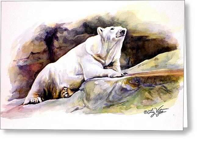 Liz Viztes Greeting Cards - Resting Polar Bear Greeting Card by Liz Viztes