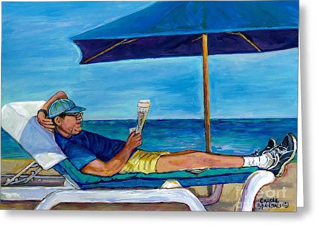 Resting Reading Lawn Chair Man Reviews Newspaper Beach Front Vacation Summer Scene Carole Spandau    Greeting Card by Carole Spandau