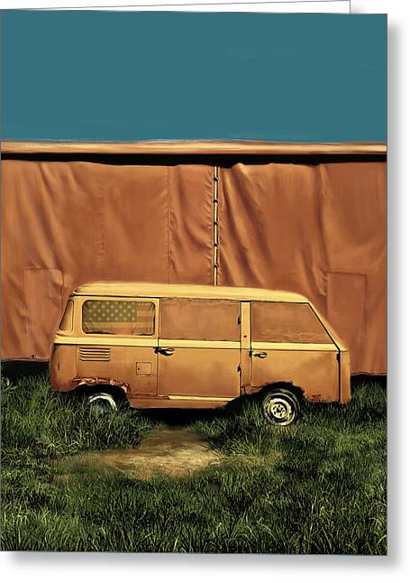 Road Trip Paintings Greeting Cards - Resting van Greeting Card by MB Art factory