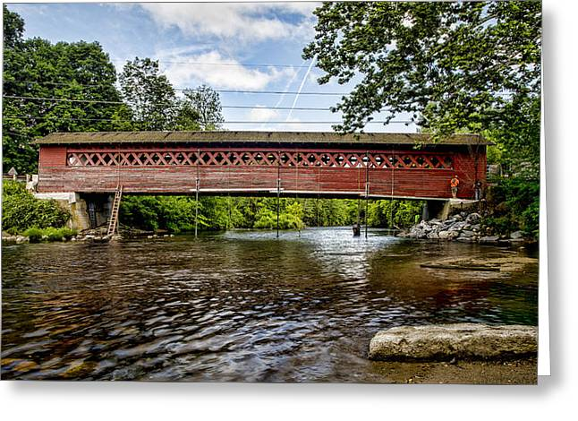 Old Country Roads Greeting Cards - Restoration - Henry Covered Bridge Greeting Card by Stephen Stookey