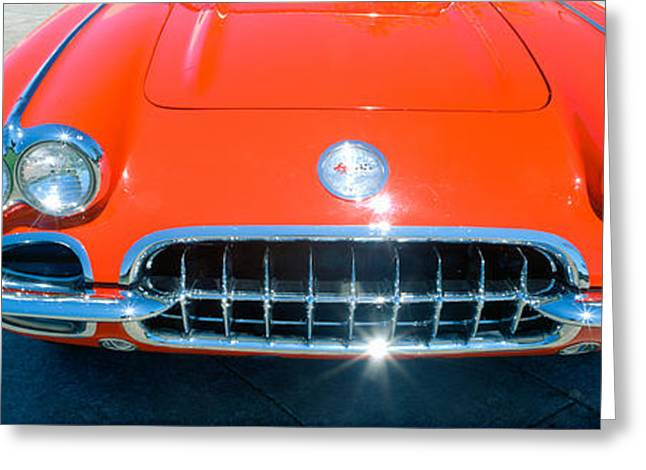 Restored Red 1959 Corvette, Front Greeting Card by Panoramic Images