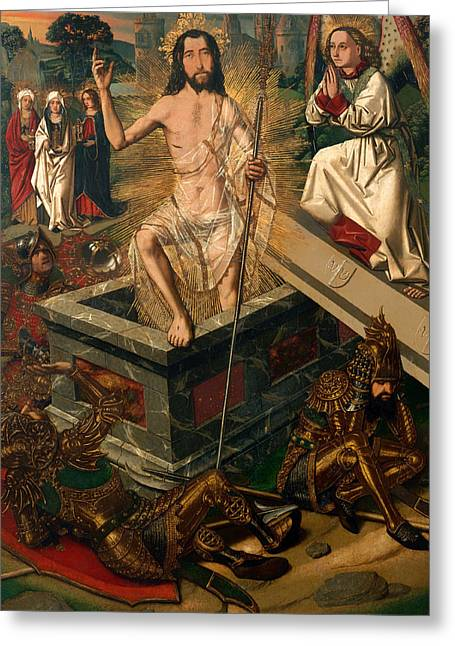 Figure In Oil Greeting Cards - Resurrection Greeting Card by Bartolome Bermejo