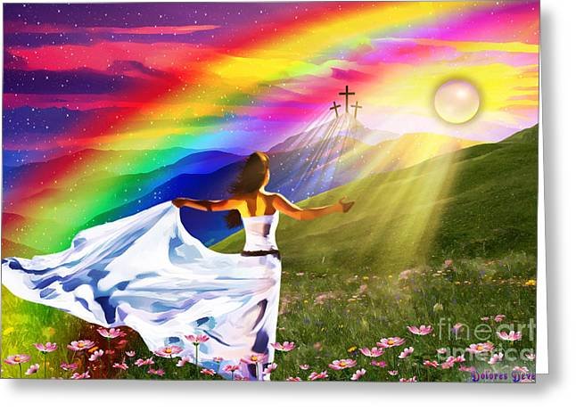 Jesus Mixed Media Greeting Cards - Resurrection  Greeting Card by Dolores Develde