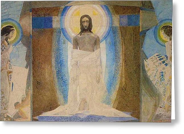 Side Panel Greeting Cards - Resurrection Greeting Card by Mikhail Aleksandrovich Vrubel