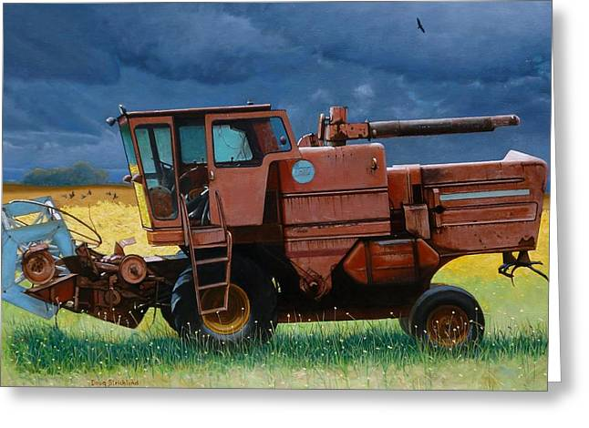 Doug Strickland Greeting Cards - Retired Combine Awaiting A Storm Greeting Card by Doug Strickland