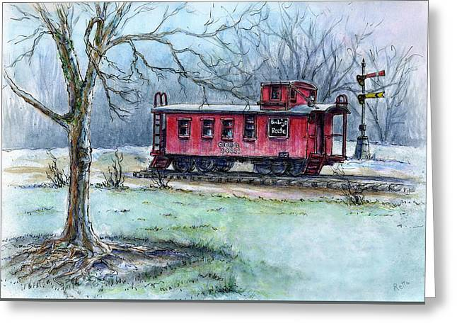 Ink Drawing Greeting Cards - Retired Red Caboose Greeting Card by Retta Stephenson