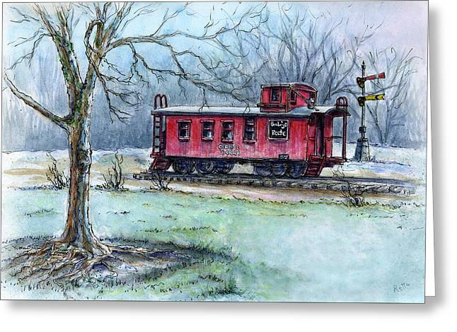 Caboose Drawings Greeting Cards - Retired Red Caboose Greeting Card by Retta Stephenson
