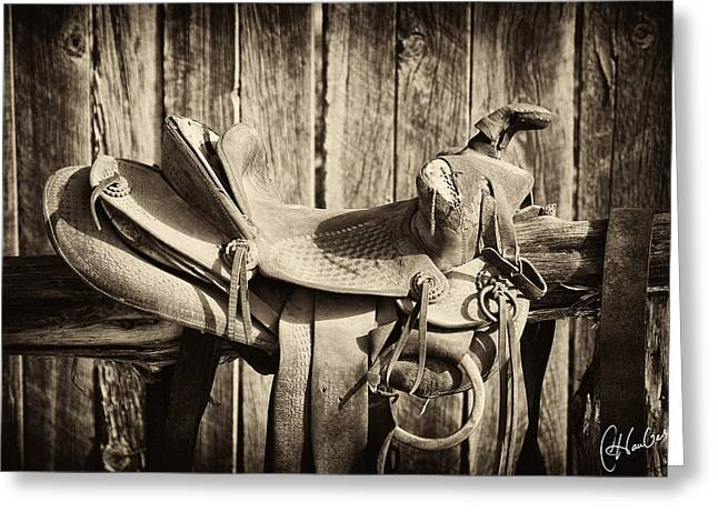 Saddle Greeting Cards - Retired Saddle Greeting Card by Christine Hauber