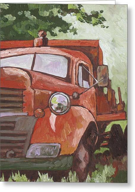 Rusted Cars Paintings Greeting Cards - Retired Greeting Card by Sandy Tracey
