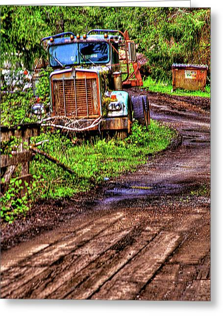 Retired Semi Truck Greeting Card by David Patterson