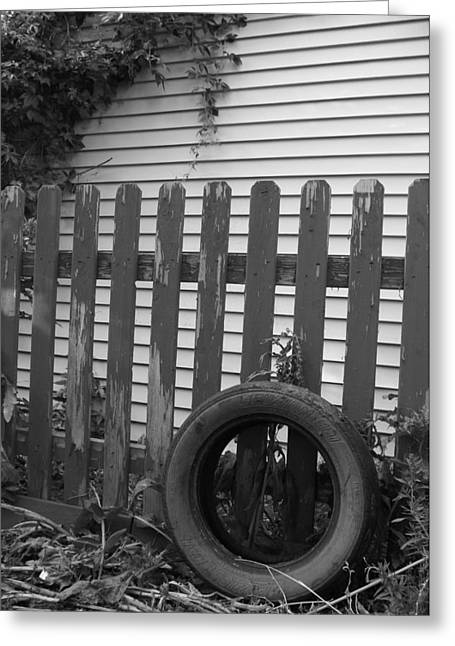 Outbuildings Greeting Cards - Retired Tire Greeting Card by Kirk Griffith