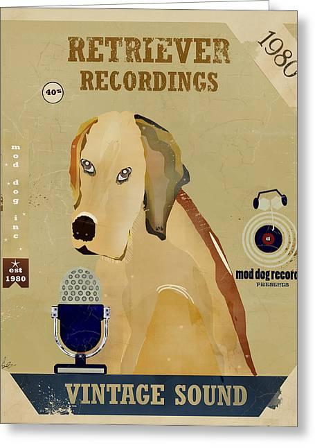 Golden Retriever Digital Art Greeting Cards - Retriever Records Greeting Card by Bri Buckley