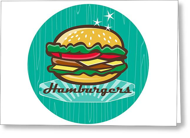 Retro 1950s Diner  Hamburger Circle  Greeting Card by Aloysius Patrimonio