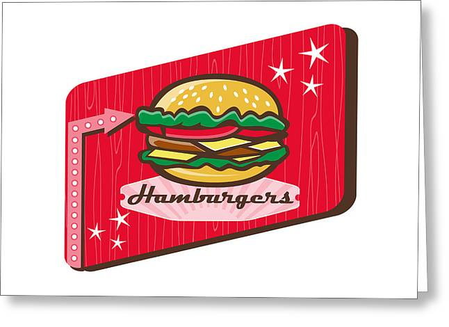 Retro 1950s Diner Hamburger Sign Greeting Card by Aloysius Patrimonio