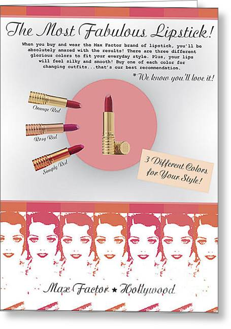 The Most Fabulous Lipstick Greeting Card by Raquel Bright