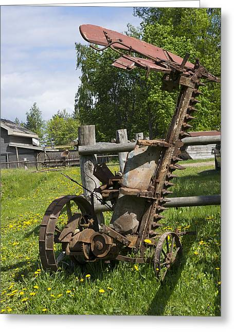 Industrial Background Greeting Cards - Retro Agricultural Machinery Greeting Card by Aleksandr Volkov