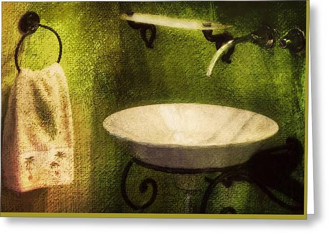 Retro Bathroom Grunge Greeting Card by Georgiana Romanovna