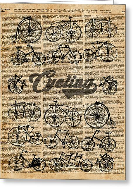 Retro Bicycles Vintage Illustration Dictionary Art Greeting Card by Jacob Kuch