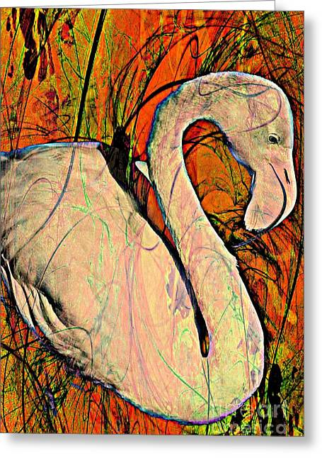Great Birds Mixed Media Greeting Cards - Retro Bird Greeting Card by Clare Bevan