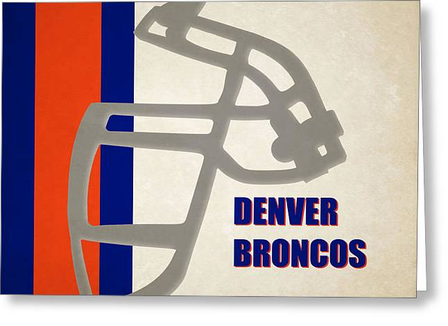 Broncos Greeting Cards - Retro Broncos Art Greeting Card by Joe Hamilton