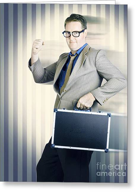 Retro Businessman Running In Competition Race Greeting Card by Jorgo Photography - Wall Art Gallery