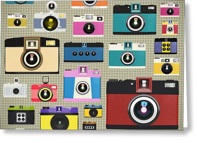 Analog Digital Art Greeting Cards - Retro Camera Pattern Greeting Card by Setsiri Silapasuwanchai