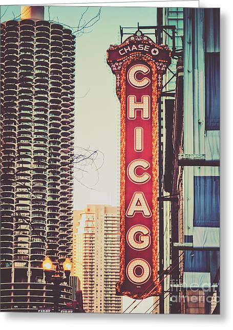 Midwestern Art Greeting Cards - Retro Chicago Theatre Sign Greeting Card by Emily Kay