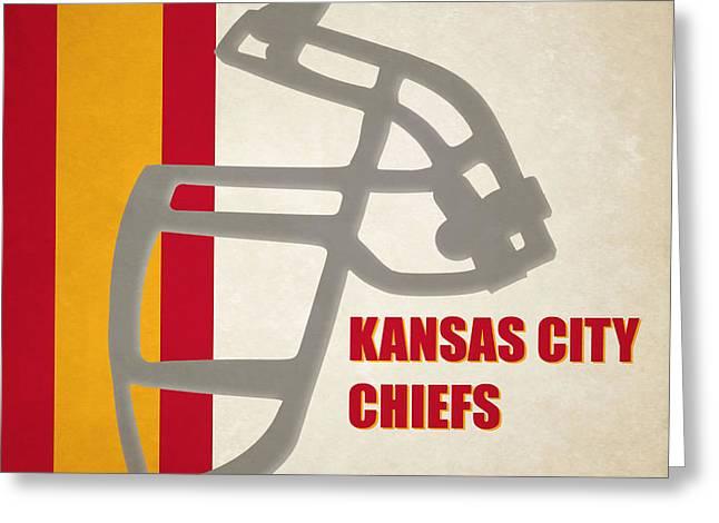 Kansas City Kansas Greeting Cards - Retro Chiefs Art Greeting Card by Joe Hamilton