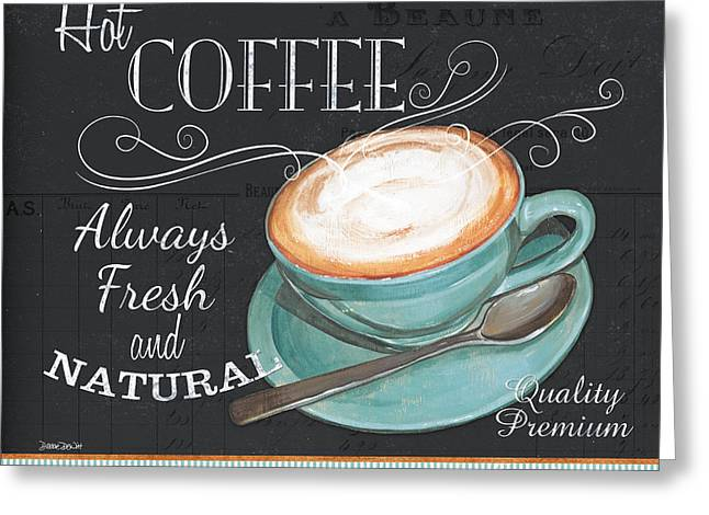 Retro Typography Greeting Cards - Retro Coffee 1 Greeting Card by Debbie DeWitt