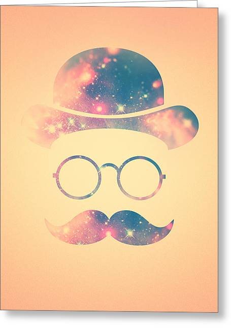 Retro Face With Moustache And Glasses  Universe  Galaxy Hipster In Gold Greeting Card by Philipp Rietz