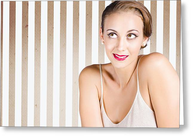 Retro Fashion Model Looking At Copyspace Greeting Card by Jorgo Photography - Wall Art Gallery