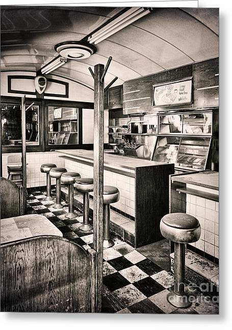 Checkerboard Floor Greeting Cards - Retro Fifties Diner Greeting Card by Mindy Sommers