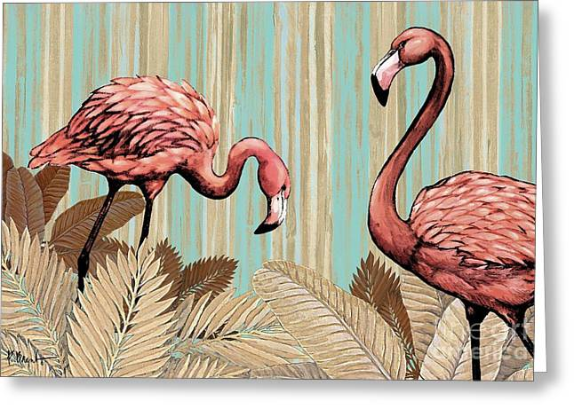 Flamingo Greeting Cards - Retro Flamingo Greeting Card by Paul Brent