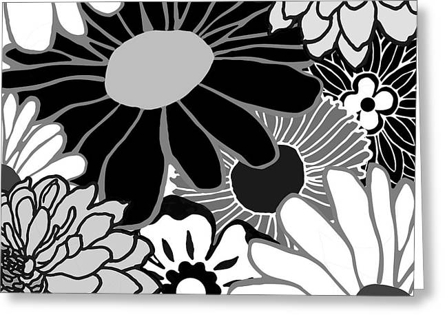 Retro Flowers Greeting Card by Mindy Sommers