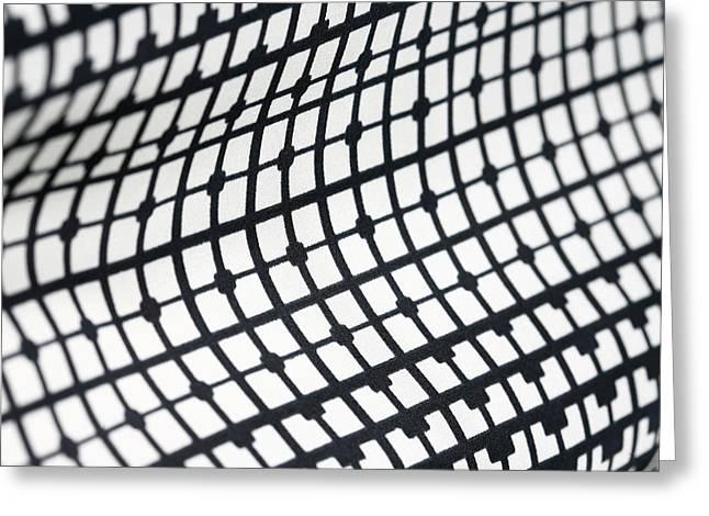 Menswear Greeting Cards - Retro geometric textile black and white pattern Greeting Card by Nebojsa Markovic
