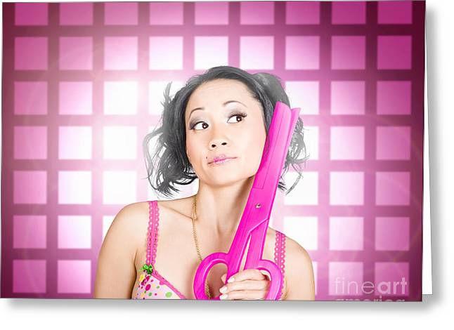 Retro Hairdresser Holding Big Pair Of Scissors Greeting Card by Jorgo Photography - Wall Art Gallery