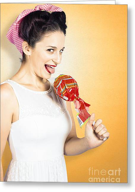 Charismatic Greeting Cards - Retro housewife craving sweet candy Greeting Card by Ryan Jorgensen