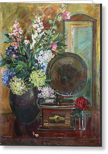 Interior Still Life Paintings Greeting Cards - Retro Greeting Card by Juliya Zhukova