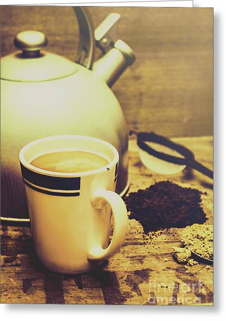 Retro Kettle With The Mug Of Tea Greeting Card by Jorgo Photography - Wall Art Gallery