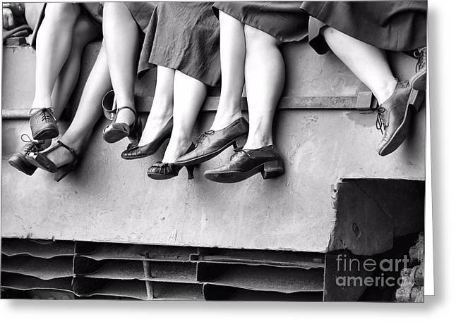 Sexy Women Framed Prints Greeting Cards - Retro Legs and Shoes Greeting Card by Jimmy Ostgard