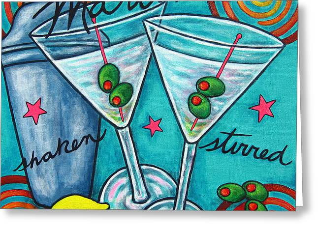 Olives Greeting Cards - Retro Martini Greeting Card by Lisa  Lorenz