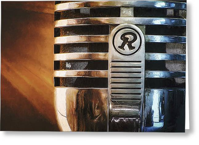 Home Greeting Cards - Retro Microphone Greeting Card by Scott Norris