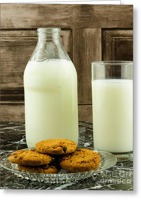 Bottle Of Milk Greeting Cards - Retro Milk Bottle And Cookies Greeting Card by F Helm
