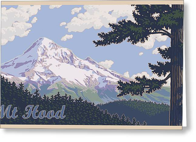 Mt Hood Greeting Cards - Retro Mount Hood Greeting Card by Mitch Frey