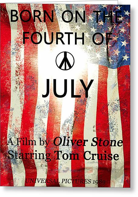 Oliver Stone Greeting Cards - Retro movie poster 4th of July Greeting Card by David Lee Thompson