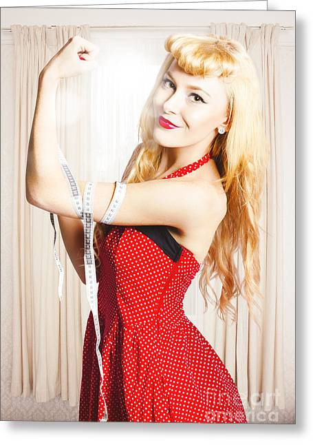 Retro Pin-up Woman With Measured Strength Greeting Card by Jorgo Photography - Wall Art Gallery