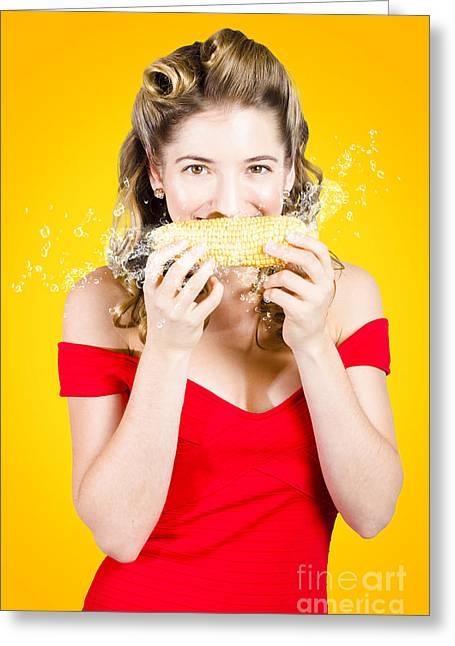 Retro Pinup Girl Eating Gmo Free Corn Cob Greeting Card by Jorgo Photography - Wall Art Gallery