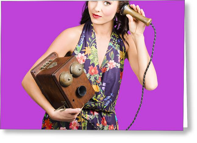 Retro Receptionist On Vintage Telephone. Call Us Greeting Card by Jorgo Photography - Wall Art Gallery