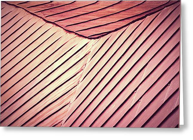 Retro Red Roof Skived Of Steel Sheet Greeting Card by Jozef Jankola
